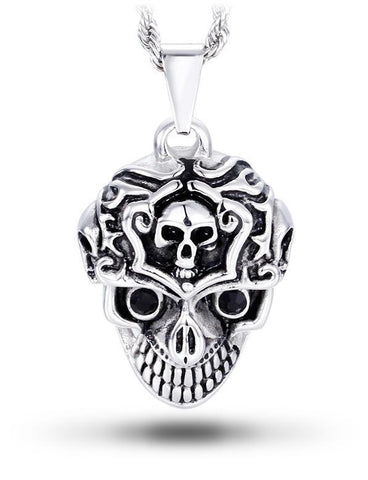 brain and skull necklace