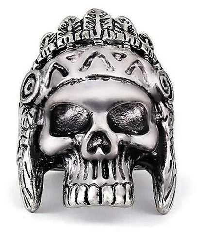 chief indian skull ring