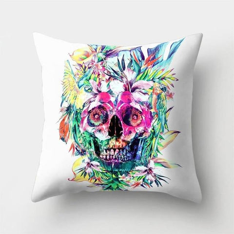 Colorful Skull Pillow