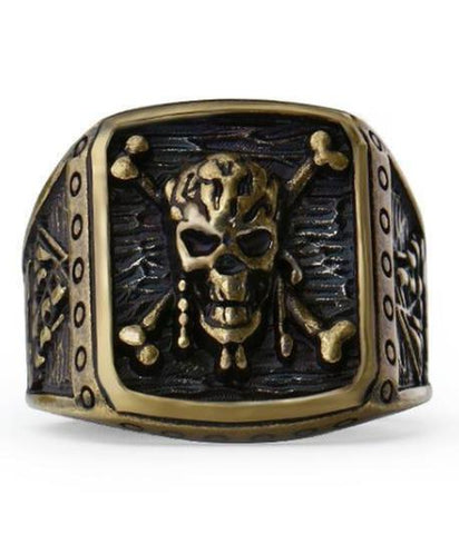 copper skull ring