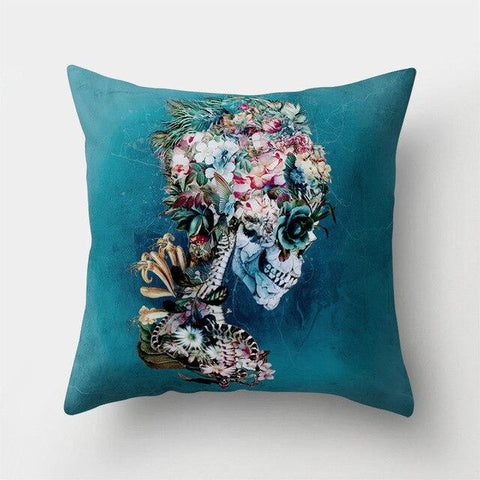 Floral Skeleton Pillow