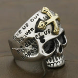 Golden Cross Skull Ring | Skull Action