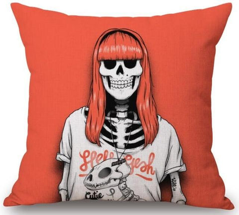 Goth Skeleton Pillow