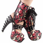 Gothic High Heels Boots | Skull Action