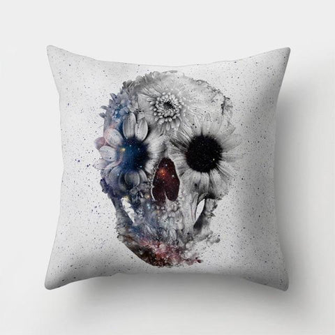 Grey Skull Pillow
