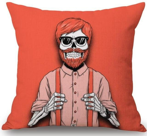 Hipster Skeleton Pillow