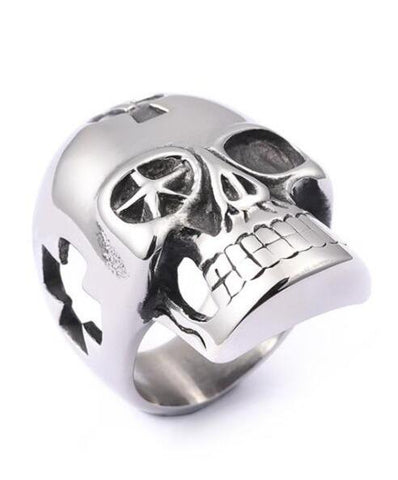 large stainless steel skull ring