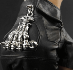 Leather Skeleton Motorcycle Gloves | Skull Action