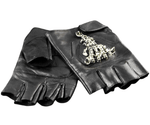 Leather Skeleton Motorcycle Gloves