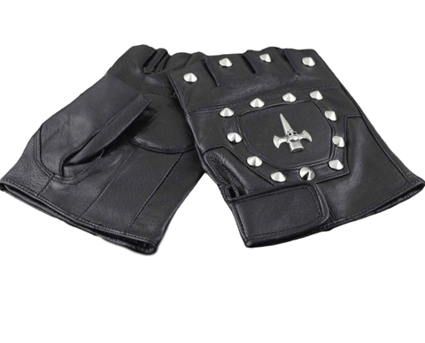 Leather Skull Motorcycle Gloves