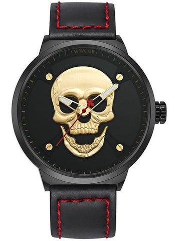 Mens Black Skeleton Watch