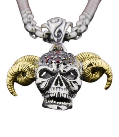Mens Silver Skull Necklace