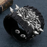 Mens Skull Leather Bracelet | Skull Action