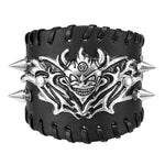 Mens Skull Leather Bracelet