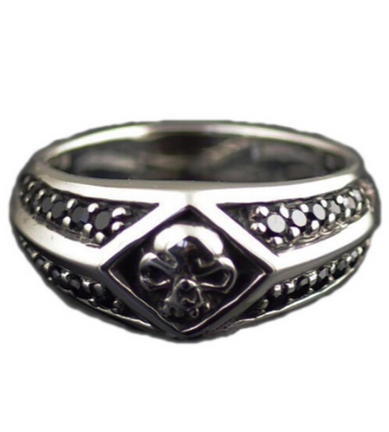 mens skull signet ring