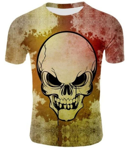 Mens Yellow Skull T Shirt