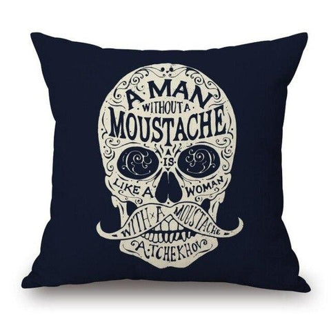 Moustache Skull Pillow