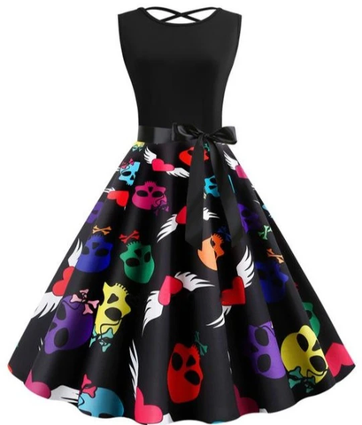 Multicolor Skull Dress