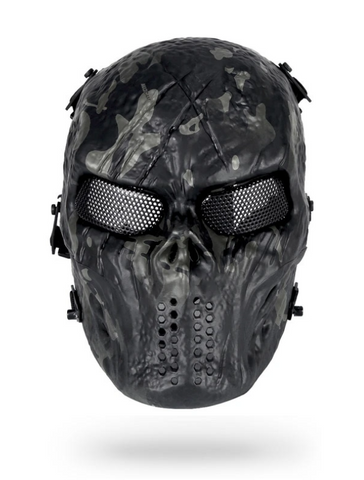 Paintball Mask Black Skull