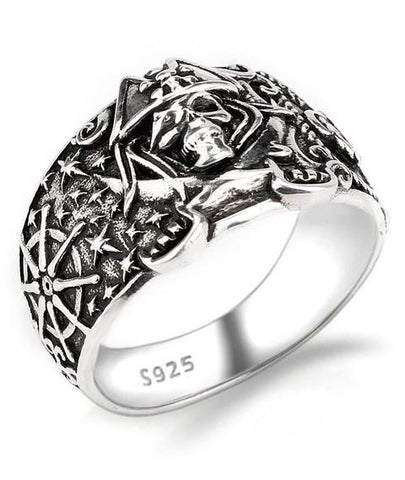pirate skull silver ring