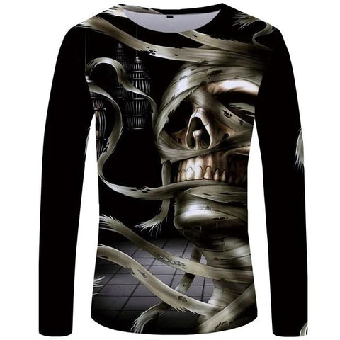 Long Sleeve Aged Skull Shirt Mens