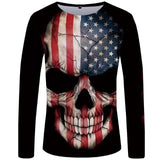 Dion Wear American Warrior Flag Skull Military T-Shirt Long Sleeve