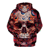 Red Hoodie Skull Face For Men