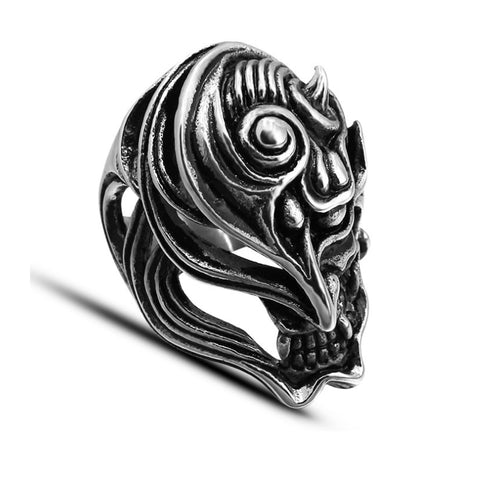 Half Demon Skull Ring