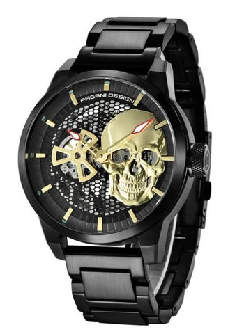 Mens Black Skull Watch