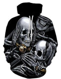 Black Hoodie With White Skull Design