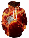 Hoodie With Flaming Skulls For man