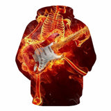 Hoodie With Flaming Skulls