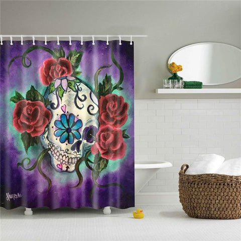 Purple Sugar Skull Shower Curtain