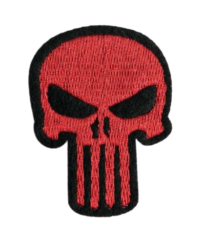 Red Punisher Skull Patch