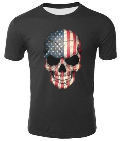 Red White And Blue Skull Tee Shirt