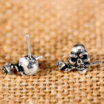 Rose Skull Stud Earrings | Skull Action