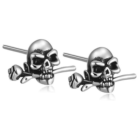Rose Skull Stud Earrings