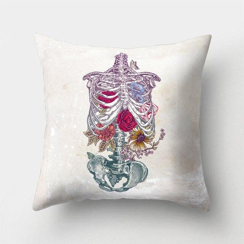 Roses Skeleton Pillow