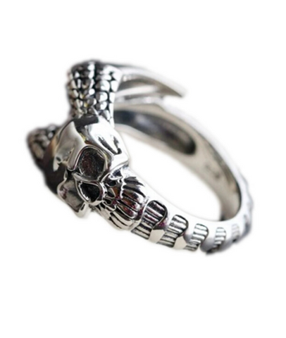 silver adjustable skull ring