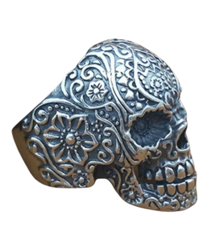 Silver Engraved Skull Ring