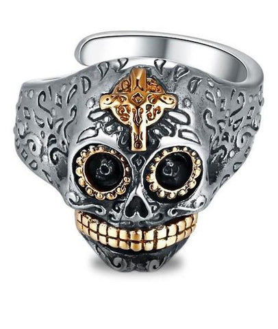 silver mexican skull ring