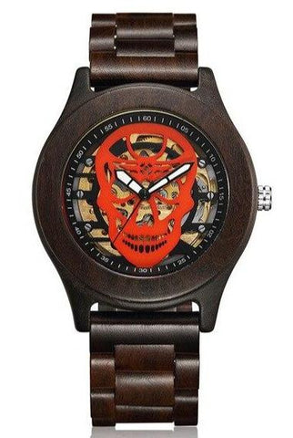 Skeleton Face Wood Watch