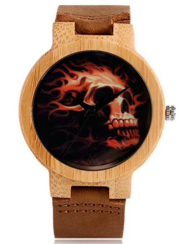 skeleton watch leather strap