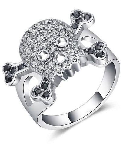 skull and crossbones wedding ring