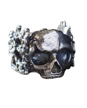 skull and flower ring