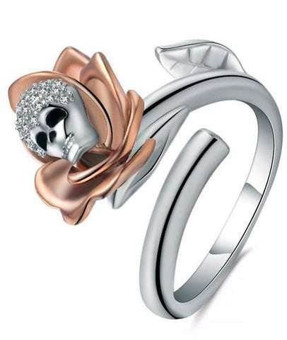 skull and rose engagement ring
