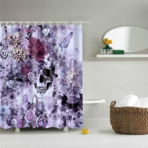 Skull Butterfly Shower Curtain