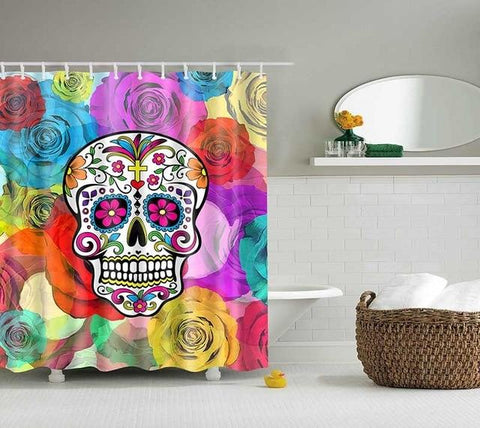 Skull Flower Shower Curtain