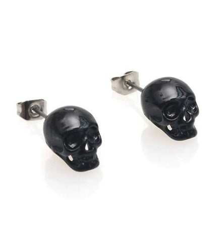 Skull Head Earrings Black