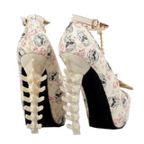 Skull High Heels Beige Shoes | Skull Action
